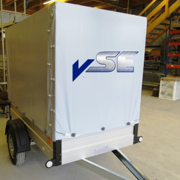 Agados PKW Anhänger 750kg mit Planenaufbau grau