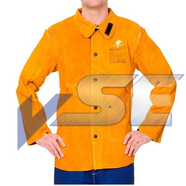 Weldas Golden Brown 44-2530/P Spalt Rindleder Jacke mit feuerresistentem Rücken
