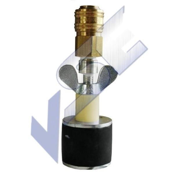 Rohrverschlussstopfen zylindrisch, 1 Gummiring mit Durchgang und Schnellverschlusskupplung